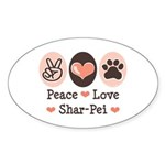 Peace Love Shar Pei Oval Sticker