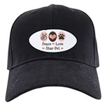 Peace Love Shar Pei Black Cap