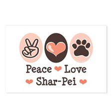Peace Love Shar Pei Postcards (Package of 8)