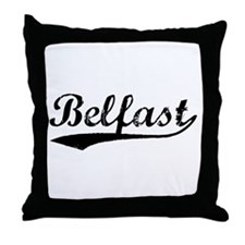 Vintage Belfast (Black) Throw Pillow