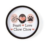 Peace Love Chow Chow Wall Clock