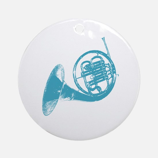 Blue French Horn Ornament (Round)