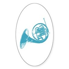 Blue French Horn Oval Decal