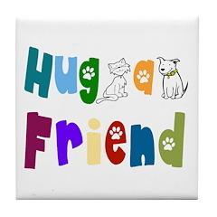 Hug a Friend Tile Coaster