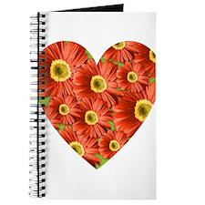Red Gerbera Daisy Heart Journal
