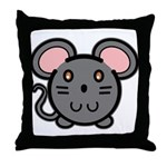 Gray Mousie Throw Pillow