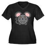 Gray Mousie Women's Plus Size V-Neck Dark T-Shirt