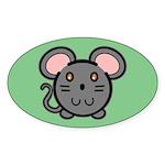 Gray Mousie Oval Sticker