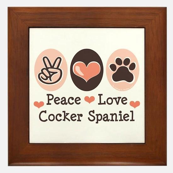 Peace Love Cocker Spaniel Framed Tile
