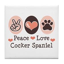 Peace Love Cocker Spaniel Tile Coaster