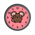 Brown Mousie Wall Clock