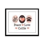 Peace Love Collie Framed Panel Print