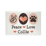 Peace Love Collie Rectangle Magnet