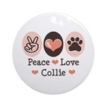 Peace Love Collie Ornament (Round)