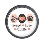 Peace Love Collie Wall Clock