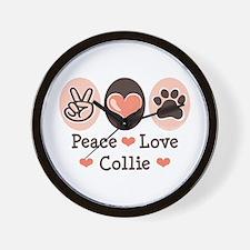 Peace Love Collie Wall Clock