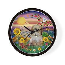 Autumn Sun & Shih Tzu Wall Clock