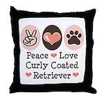 Peace Love Curly Retriever Throw Pillow