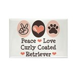 Peace Love Curly Retriever Rectangle Magnet (10 pa