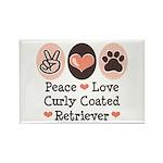 Peace Love Curly Retriever Rectangle Magnet (100 p