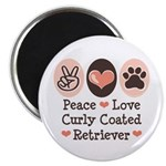 Peace Love Curly Retriever Magnet