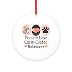 Peace Love Curly Retriever Ornament (Round)