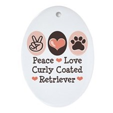 Peace Love Curly Retriever Oval Ornament