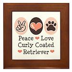 Peace Love Curly Retriever Framed Tile