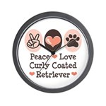 Peace Love Curly Retriever Wall Clock