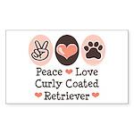Peace Love Curly Retriever Rectangle Sticker