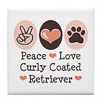 Peace Love Curly Retriever Tile Coaster
