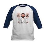 Peace Love Curly Retriever Kids Baseball Jersey