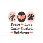 Peace Love Curly Retriever Postcards (Package of 8
