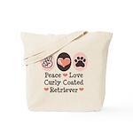 Peace Love Curly Retriever Tote Bag