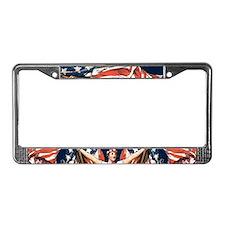 Vintage American Flag Art License Plate Frame