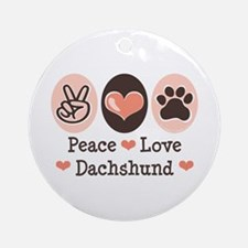 Peace Love Dachshund Ornament (Round)