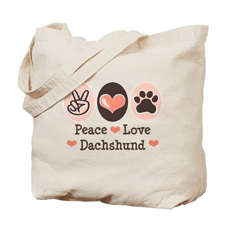 Peace Love Dachshund Tote Bag