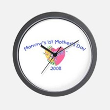 Mommy's 1st Mother's Day 2008 (Heart) Wall Clock
