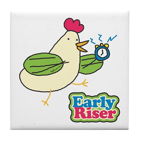 Early Riser Chicken Tile Coaster