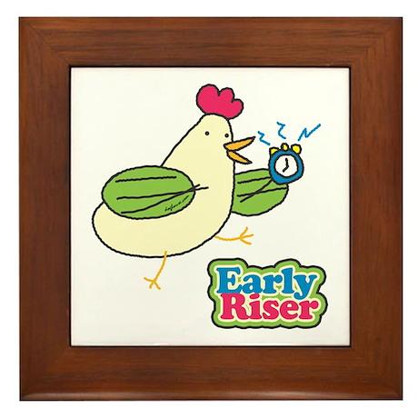 Early Riser Chicken Framed Tile