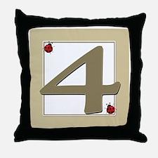 Number 4 Throw Pillow
