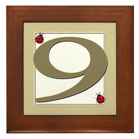 Number 9 Framed Tile