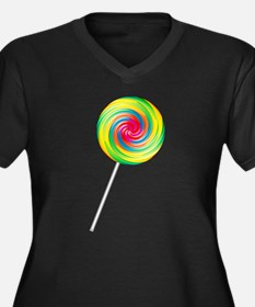 Swirly Lollipop Women's Plus Size V-Neck Dark T-Sh