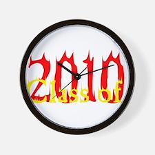 Flaming Class of 2010 Wall Clock