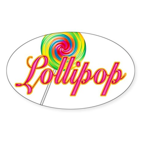 Text Lollipop Oval Sticker