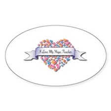 Love My Yoga Teacher Oval Bumper Stickers