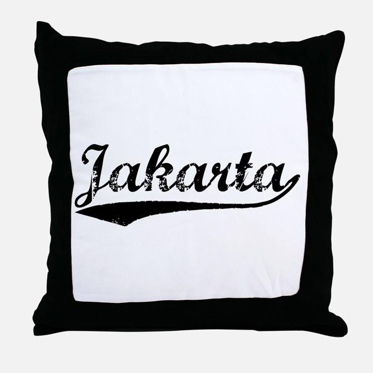 Vintage Jakarta (Black) Throw Pillow