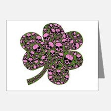 Gothic Pink Skulls Shamrock Note Cards (Pk of 20)