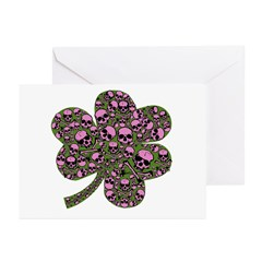 Gothic Pink Skulls Shamrock Greeting Cards (Pk of