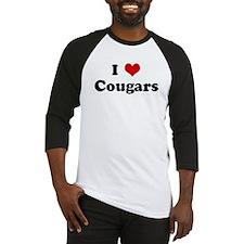 I Love Cougars Baseball Jersey